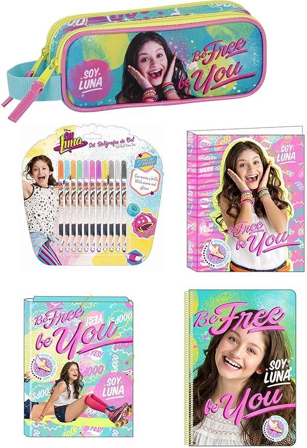 Soy Luna Disney estuche 21 x 8 x 6 + carpeta + Grapadora Caja + bloque + Bolígrafos de gel (64): Amazon.es: Electrónica
