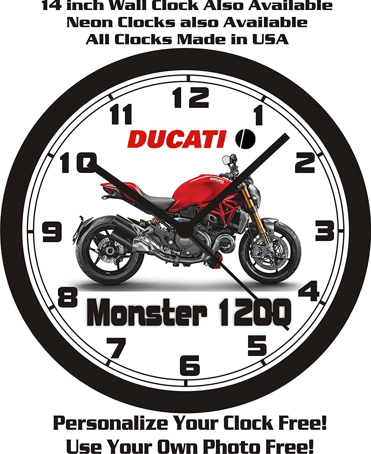 Amazon.com: 2014 DUCATI MONSTER 1200 MOTORCYCLE WALL CLOCK ...