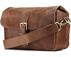 MegaGear Torres Genuine Leather Camera Messenger Bag for Mirrorless, Instant and DSLR Cameras