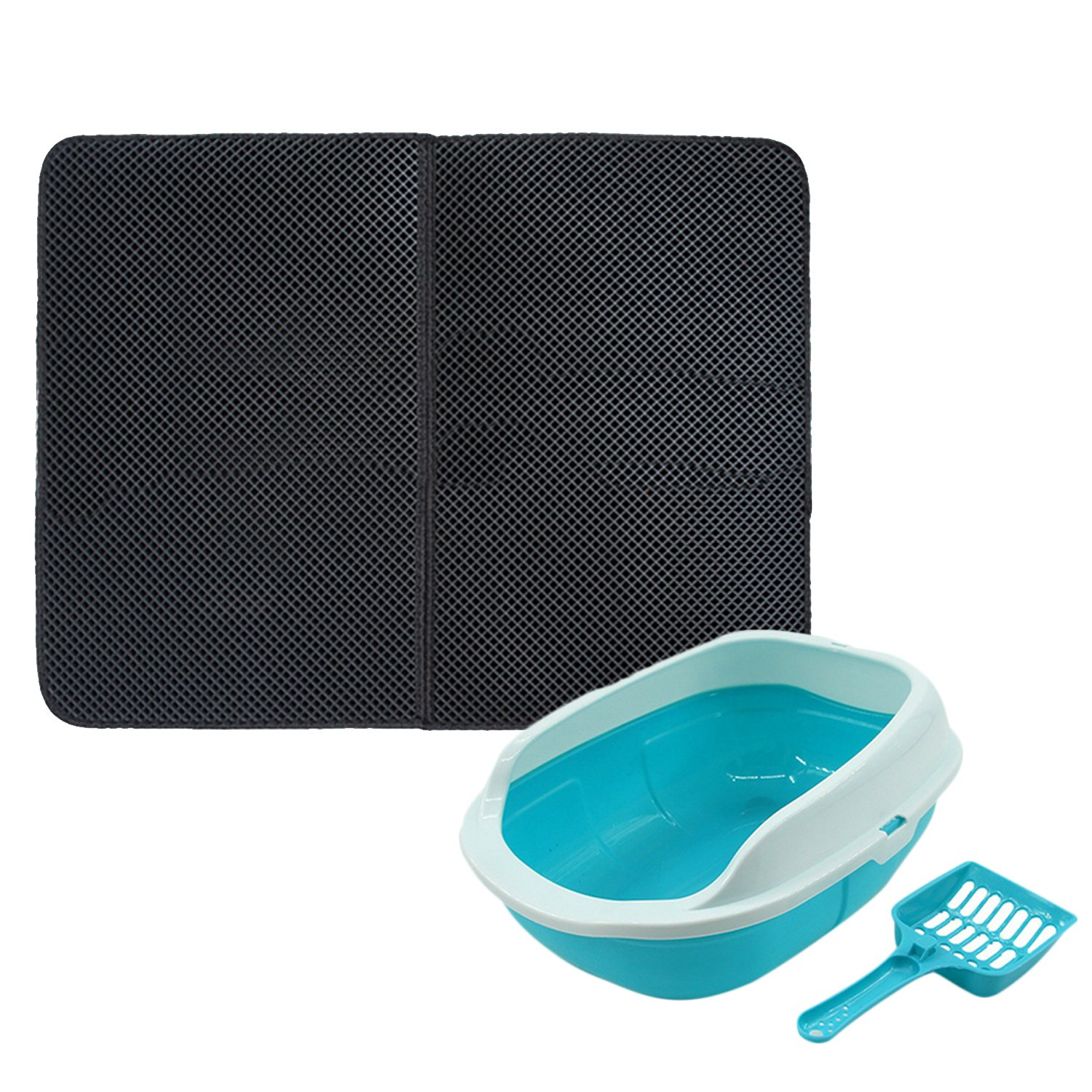 A Cat Litter Mat, ELISONA Non Slip Double Layer Honeycomb Design Cat Litter Trapper Mat Pad + Plastic Cat Litter Box Pan + Random color Scoop for Cat Kitty