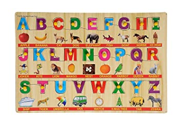 Arfa- Aaina Alphabatic Wooden Educational Colorful Puzzle (30x30 cm) Pack of one Piece Color Assorted