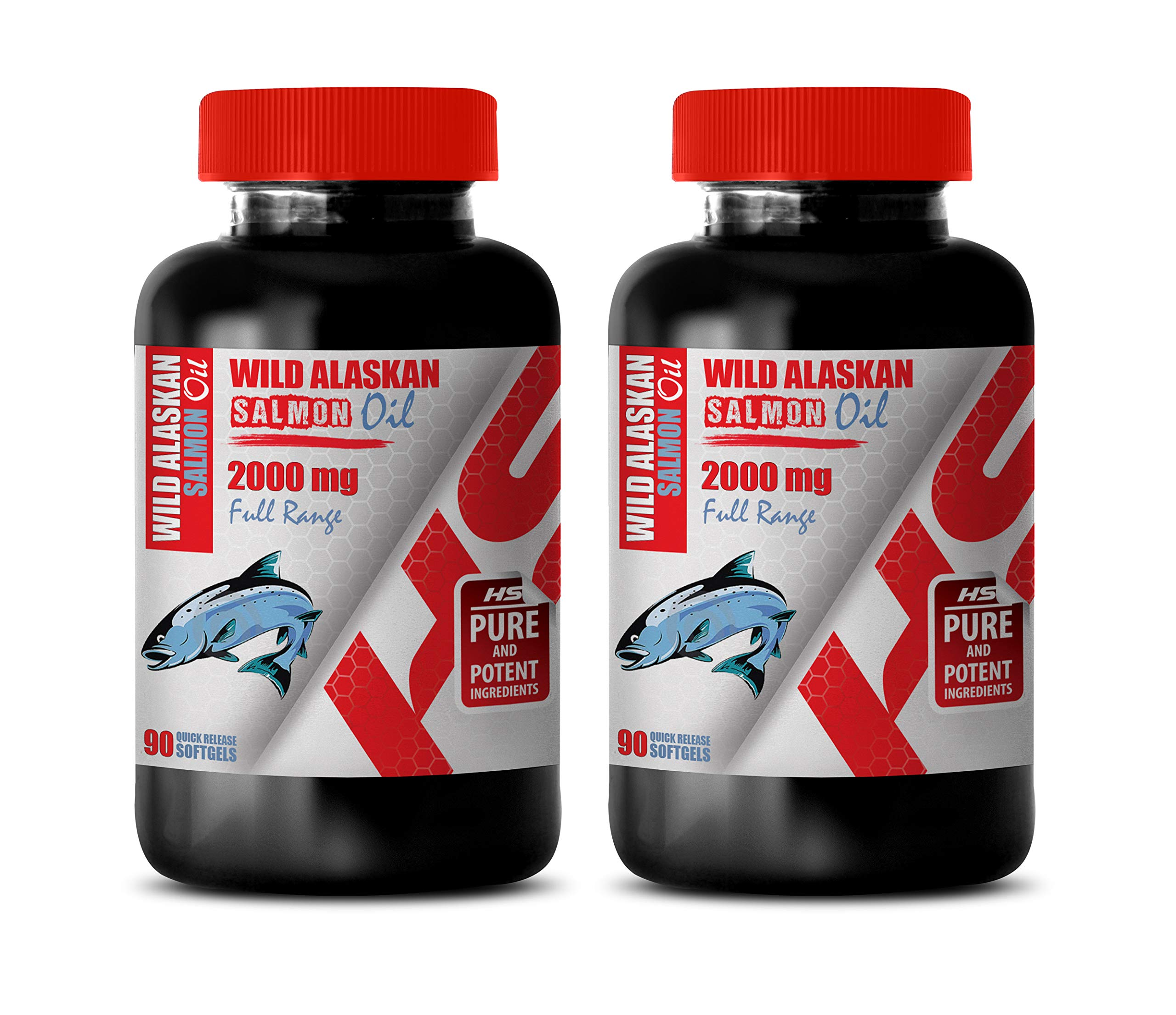 Heart Health Supplements - Wild Alaskan Salmon Oil 2000 Mg Full Range - Fish Oil Omega 3 for Memory - 2 Bottles 180 Softgels