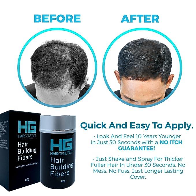 Fibras capilares reconstructoras Hair Genetics, en un dispensador de 22 g, con queratina avanzada, de textura y grosor natural, en un increíble concepto ...