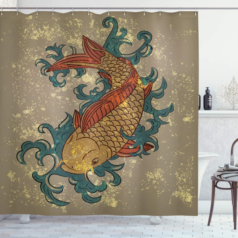 Ambesonne Japanese Shower Curtain, Grunge Style Oriental Water Koi Carp Fish Aquatic Theme Distressed Pattern, Cloth Fabric Bathroom Decor Set with Hooks, 84