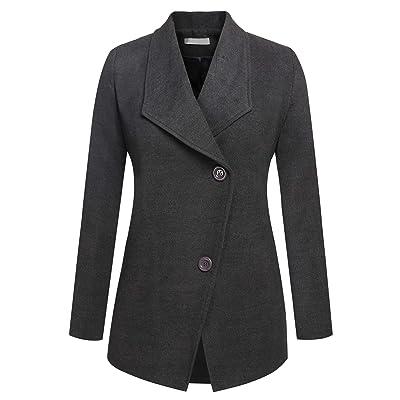 ACEVOG Women's Lapel Collar Single Breasted Overcoat Winter Outwear Wool Pea Coat