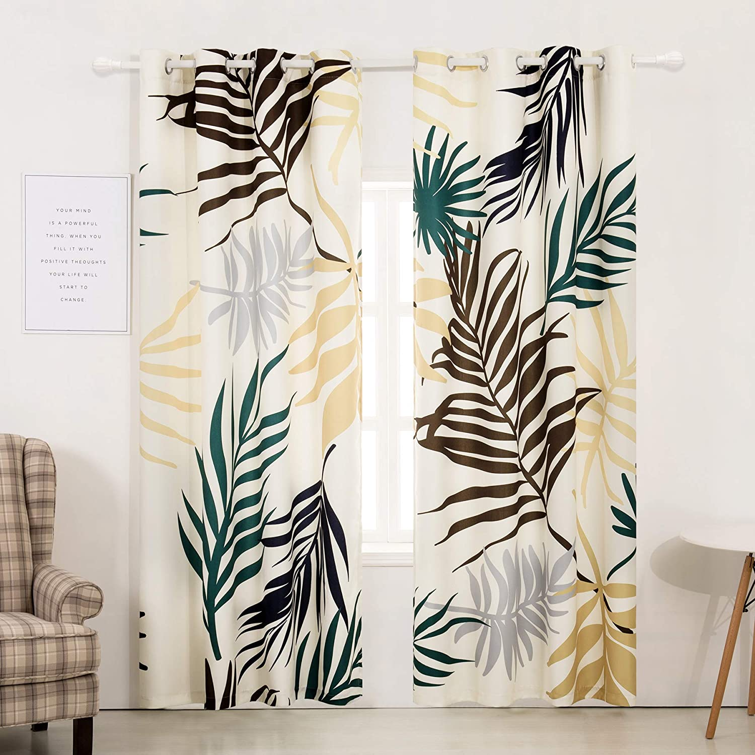 52 x 63 2 Panels, Yellow , Subrtex Spring Leaves Printed Blackout Thermal Insulated Bedroom//Living Dining Room Grommet Top Curtains for Home and Office