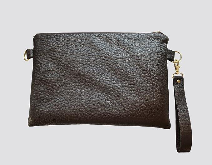 Bolso de piel de alta calidad, pintado a mano, con diseño de rayo en dorado. Cartera de mano, Clutch.: Amazon.es: Ropa y accesorios