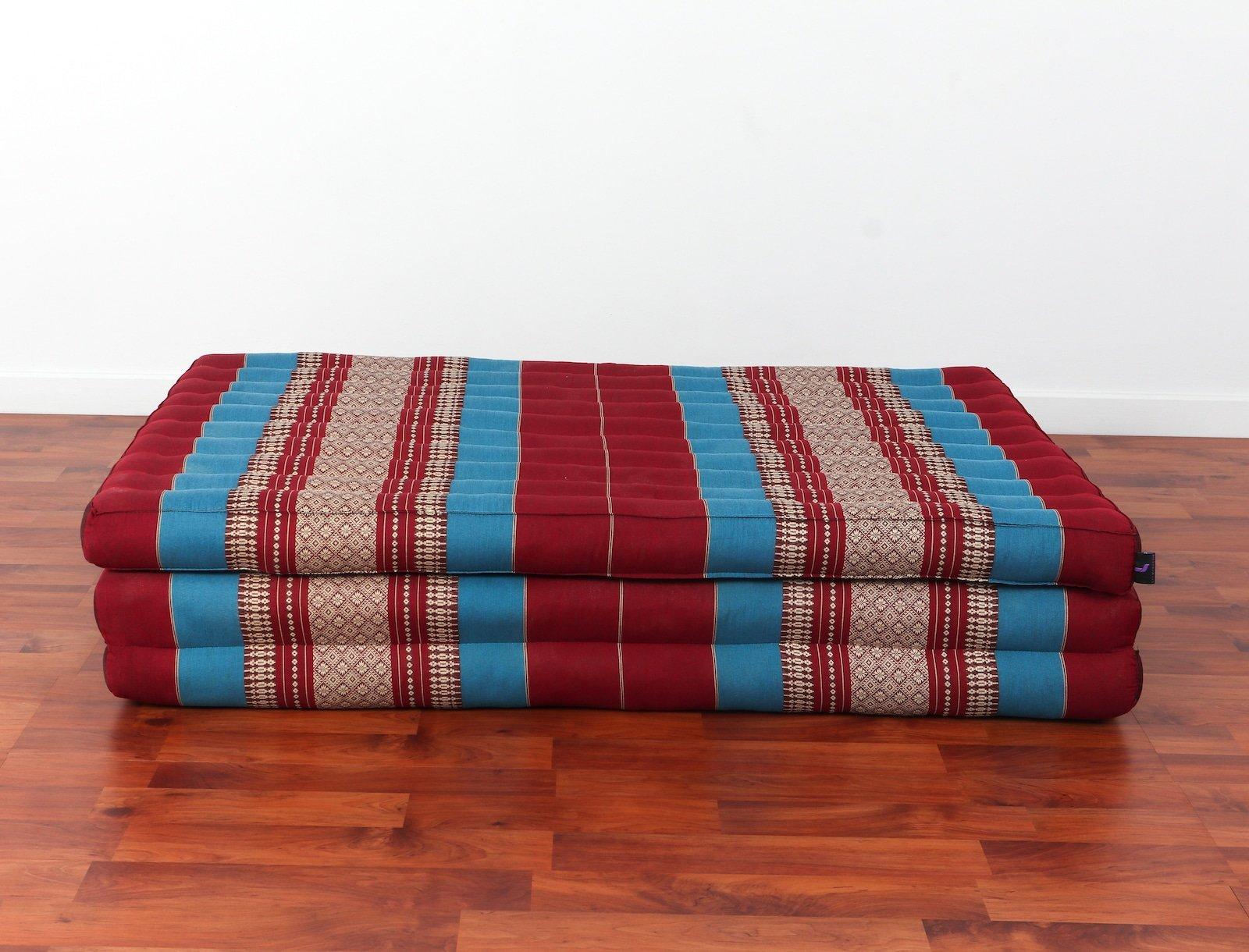 Leewadee Thai Massage Mat XL, 82x46x3 inches, Kapok, Blue red by Leewadee (Image #2)