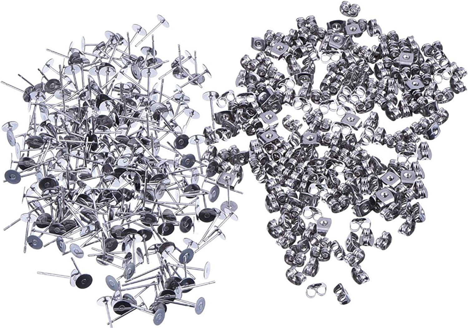 4mm 100 Pieces Stainless Steel Earrings Posts Flat Pad,100 Pieces Butterfly Earring Backs,100 Pieces Bullet Earring Backs,Total 300 Pieces