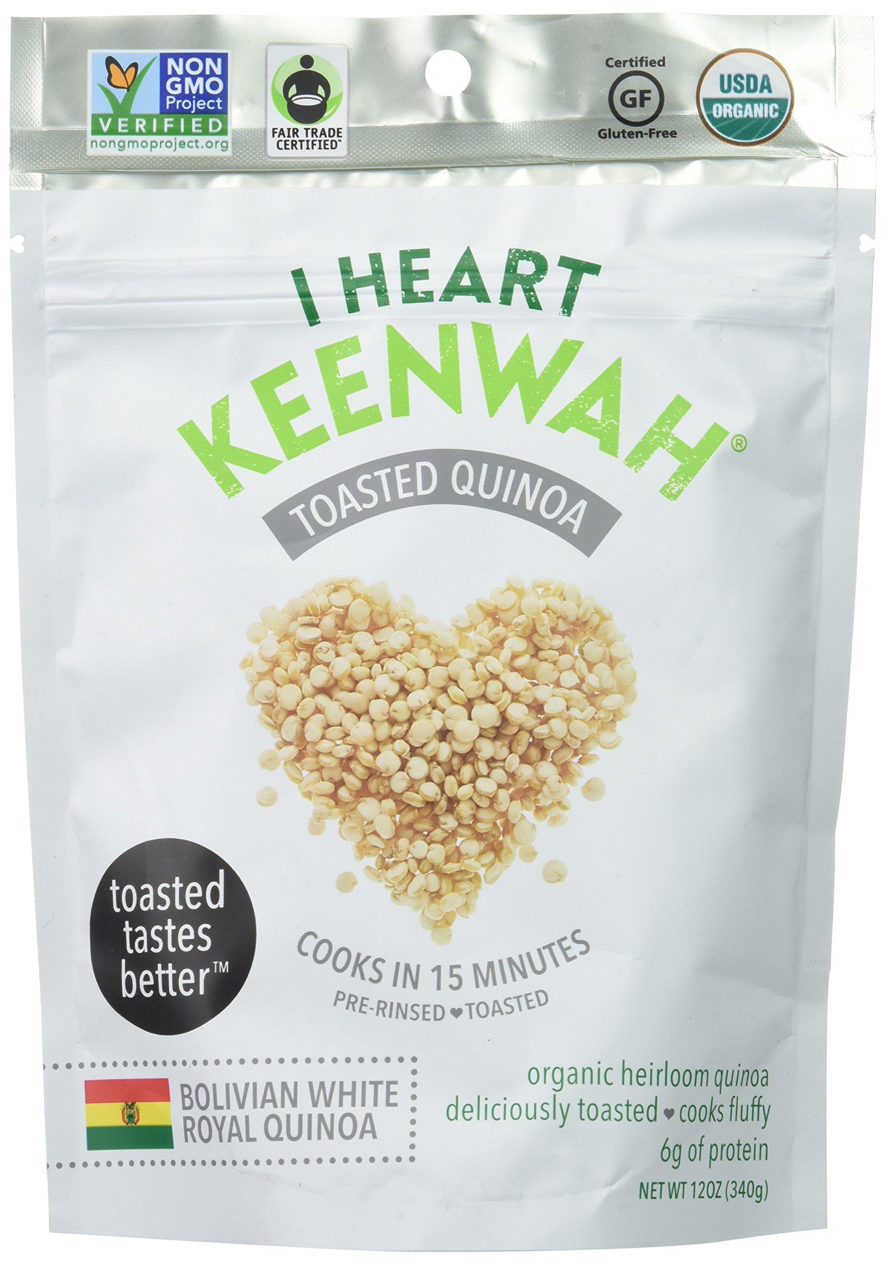 I Heart Keenwah Toasted Quinoa, White, Organic, Whole Grain, Gluten-Free (12oz Bag)