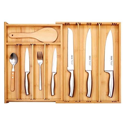 Bandejas Cubiertos, Deik Organizador Cubiertos, Cubertero de Bambú, Cubertería y Bandeja para Utensilios, Ancho Extensible (25,5-53 x 39 x 6)cm, 3-9 ...