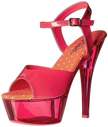 29a38d3eb17 Pleaser Women s Kiss209uvt nhp m Platform Sandal Patent Neon Transparent  Pink