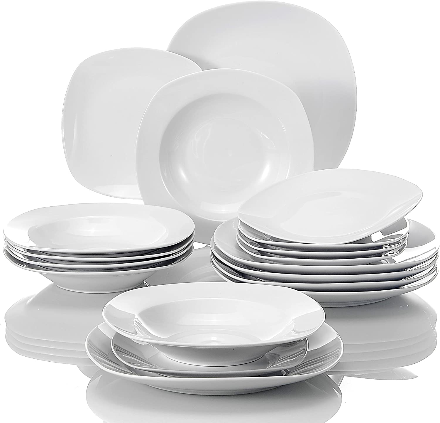MALACASA, Series Elisa, 18-Piece Dinner Set Ivory White Porcelain WAS £29.99 NOW £19.49 w/code V9JK2DNS with 5% voucher on listing @ Amazon