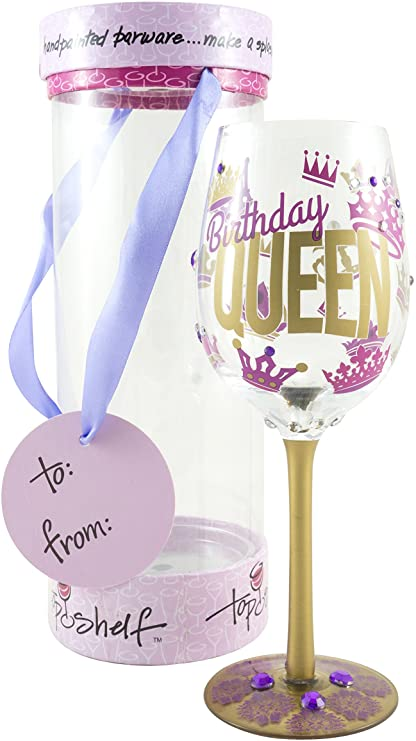 Amazon Com Top Shelf Birthday Queen Decorative Wine Glass Funny Gifts For Women Hand Painted Purple And Gold Design Unique Red Or White Wine Glasses Kitchen Dining