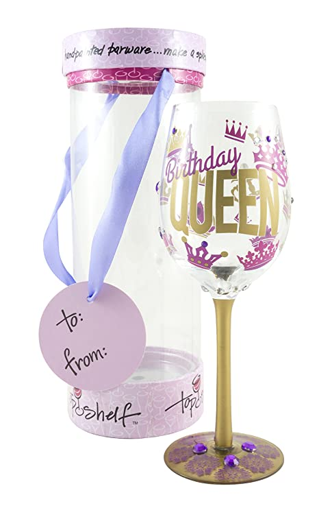 Amazon Top Shelf Birthday Queen Decorative Wine Glass Funny Gifts For Women Hand Painted Purple And Gold Design Unique Red Or White