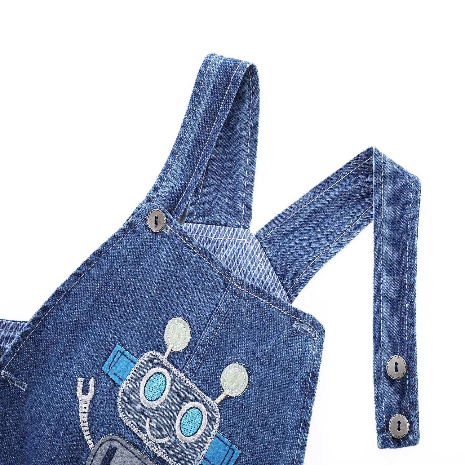 BABYPEP Baby and Little Boys//Girls Jeans Jumpsuit Embroidered Cartoon Soft Denim Overalls Strap