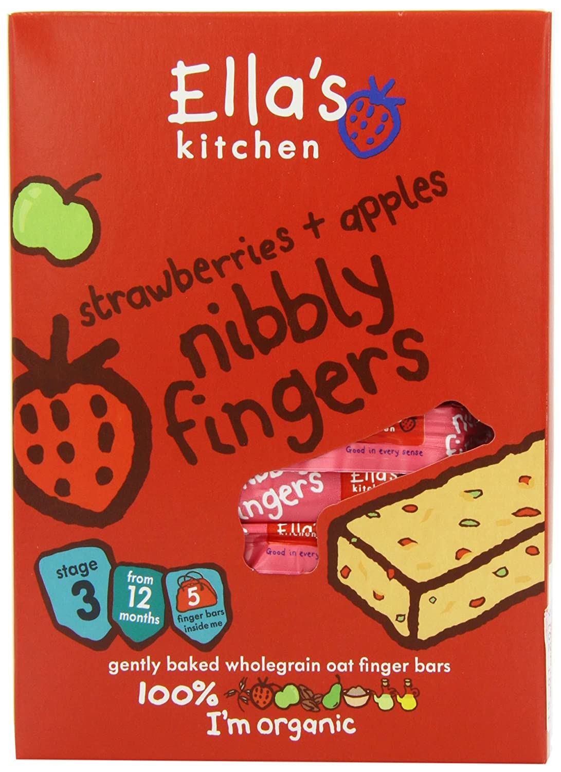 Ella's Kitchen Strawberry and Apple Nibbly Fingers 25 g (Pack of 8) BabyLand