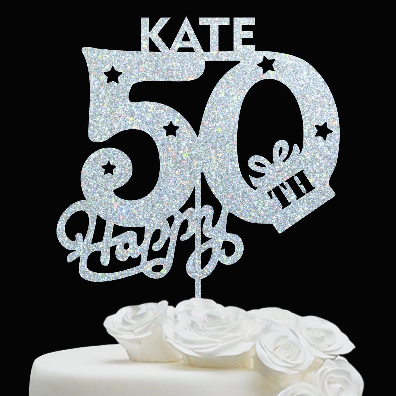 BIRTHDAY CAKE TOPPER//Anniversary Birthday Topper - Customize Cake Topper - Personalized 50 Birthday Cake Topper - Happy Birthday Cake