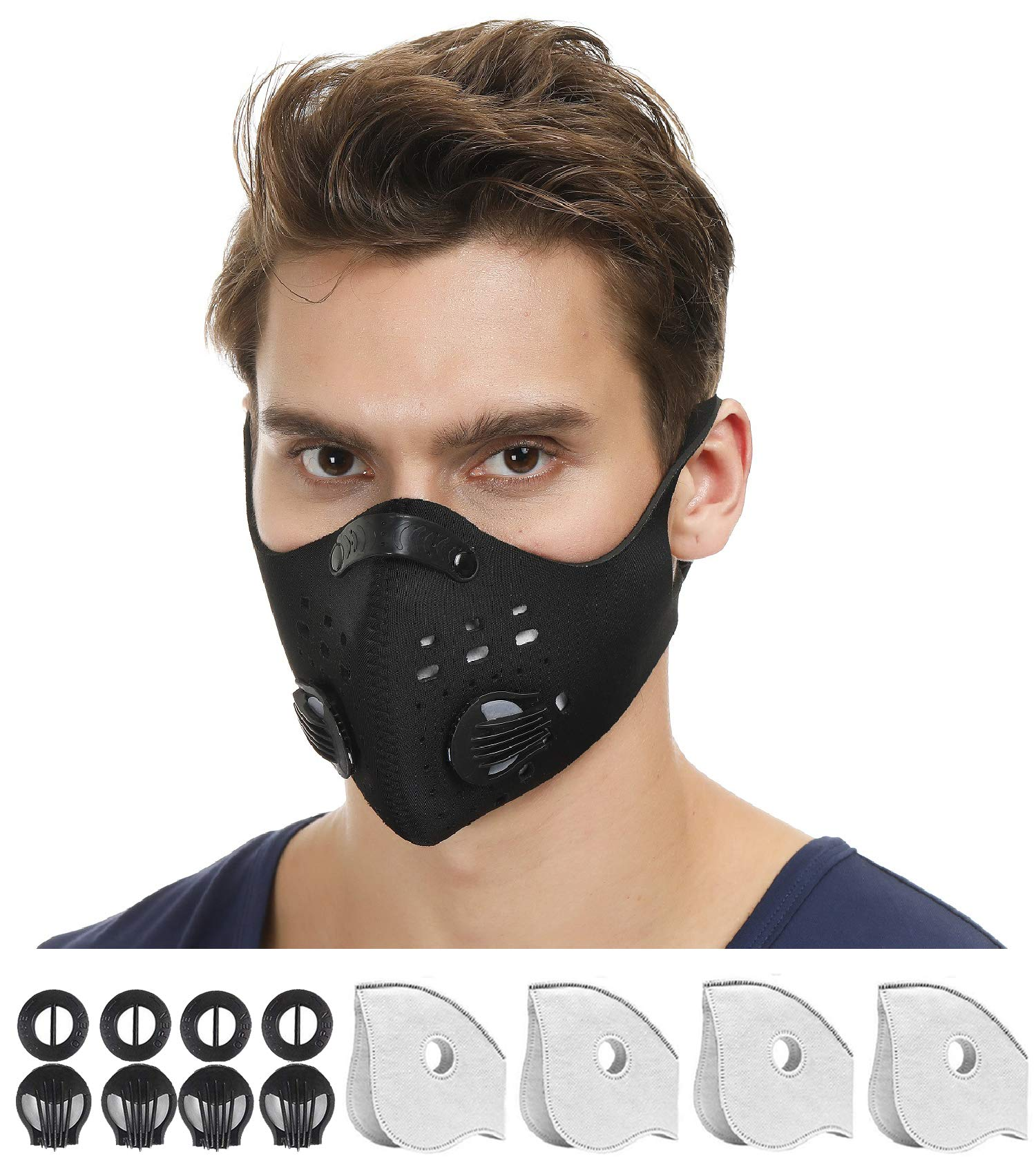 NHForest Dust Mask   Mouth Mask Respirator with 4 Carbon N99 Filters with 4 Exhalation Valves for Pollution Pollen Allergy Woodworking Mowing Running   Washable and Reusable Neoprene Mask for Outdoor