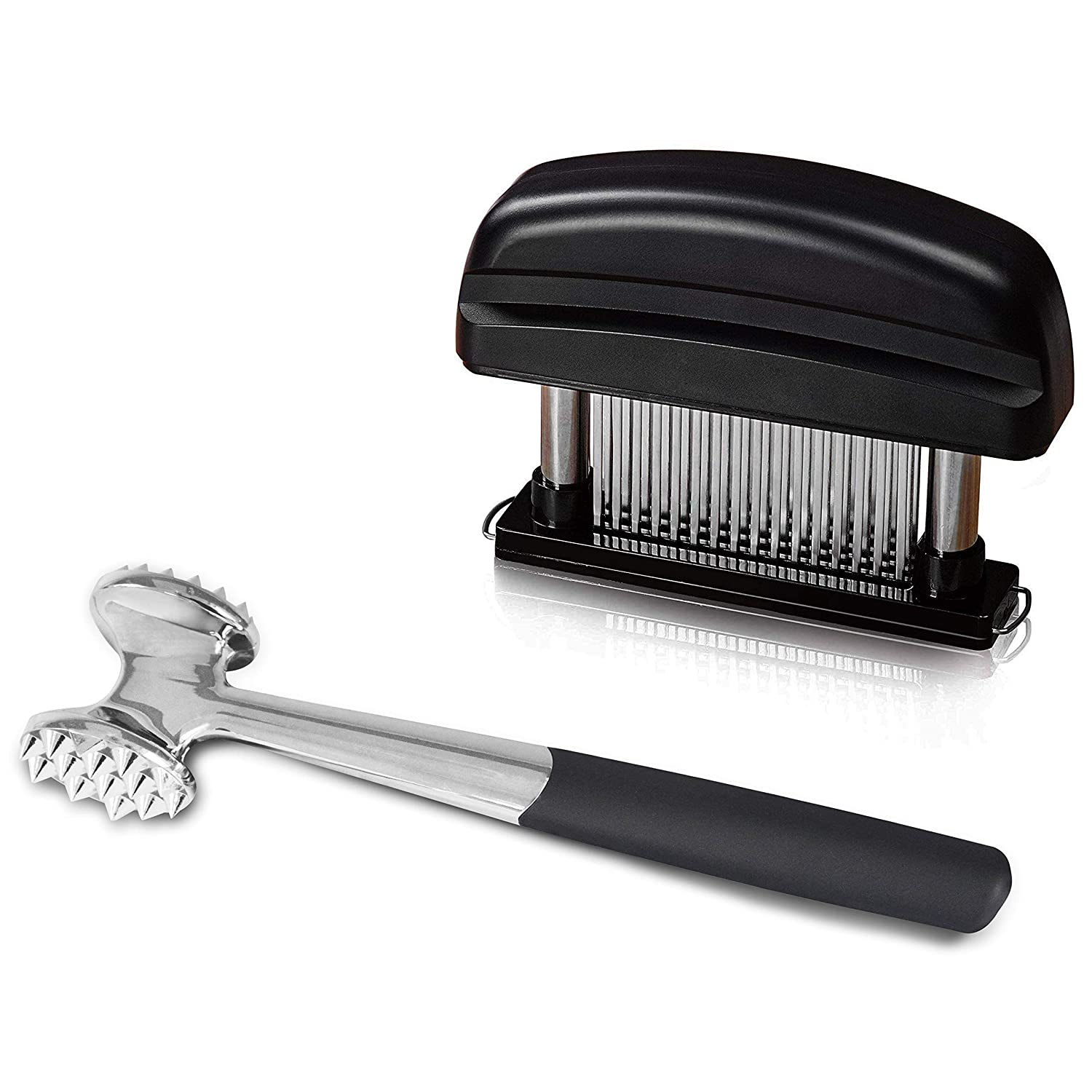 Elabo Kitchen Meat Tenderizer Sets - Heavy Duty Manual Hammer Mallet Tool and Meat Tenderizer Needle Tool with 48 Stainless Steel Sharp Blades For Steak, Chicken, Fish, Pork, Beef, Veal