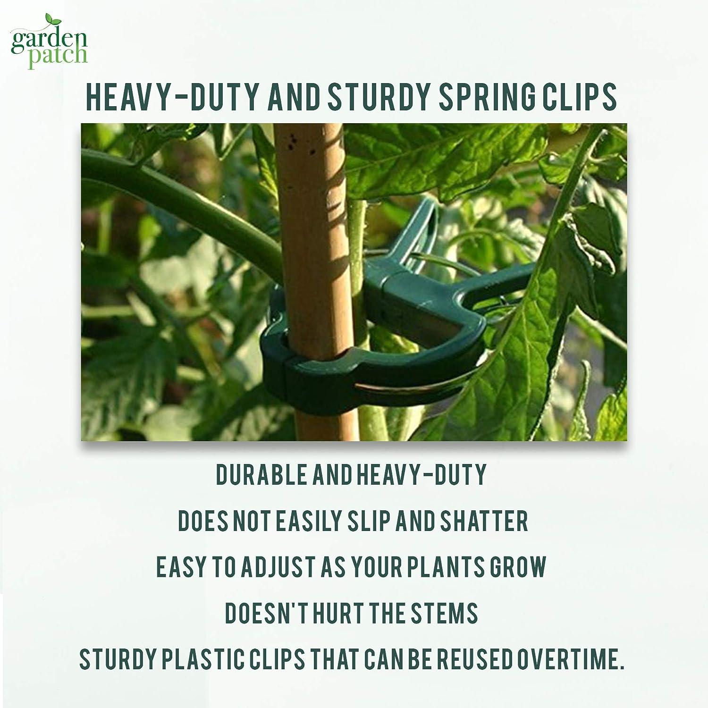 Clips de sujeci/ón para Plantas Garden Patch 60 Unidades, Incluye Libro electr/ónico de jardiner/ía