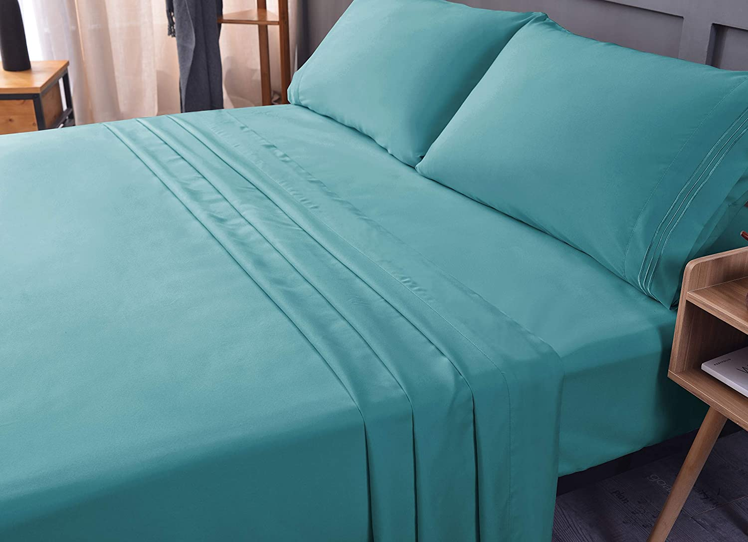 Queen 4PC Bed Sheet Set - Bamboo,Cooling Sheets, Eco-Friendly, Non-allergenic, Fade Resistant, Wrinkle Free, Ultra Soft, Shrink Resistant, Deep Pocket Bedding Sheets - 4 Piece set (Teal, Queen)