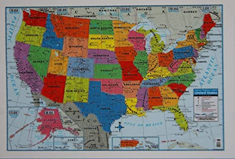 Amazon.com : United States Wall Map Poster (1) Back to ...
