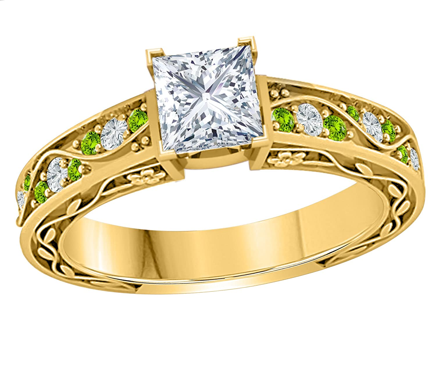 Star Retail Gorgeous 1.00 CT Princess Cut Simulated CZ Diamond /& CZ Green Peridot 14k Yellow Gold Plated Flower Look Cute Engagement /& Wedding Ring Womens