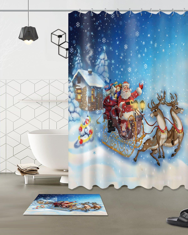Merry Christmas Season Eve New Year Decorative Decor Gift Shower Curtain Polyester Fabric 3D 60x72'' Durable Waterproof Santa Claus Reindeer Sleigh Blue Sky Bathroom Bath Liner Set Bath Mat