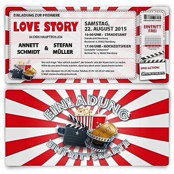 Einladungskarten Zur Hochzeit (20 Stück) Als Kino Ticket Film Theater  Hollywood Einladung