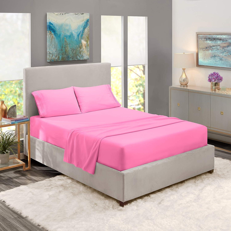 "Nestl Bedding Soft Sheets Set – 4 Piece Bed Sheet Set, 3-Line Design Pillowcases – Easy Care, Wrinkle – 10""–16"" Deep Pocket Fitted Sheets – Warranty Included – Flex-Top King, Light Pink"