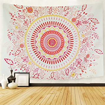 PANDAYAQ Sunflower Mandala Bohemian Tapestry Wall Hanging Colorful Leaf Flower Psychedelic Hippie