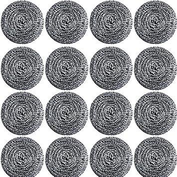 Amazon.com: 16 esponjas de acero inoxidable para limpieza de ...