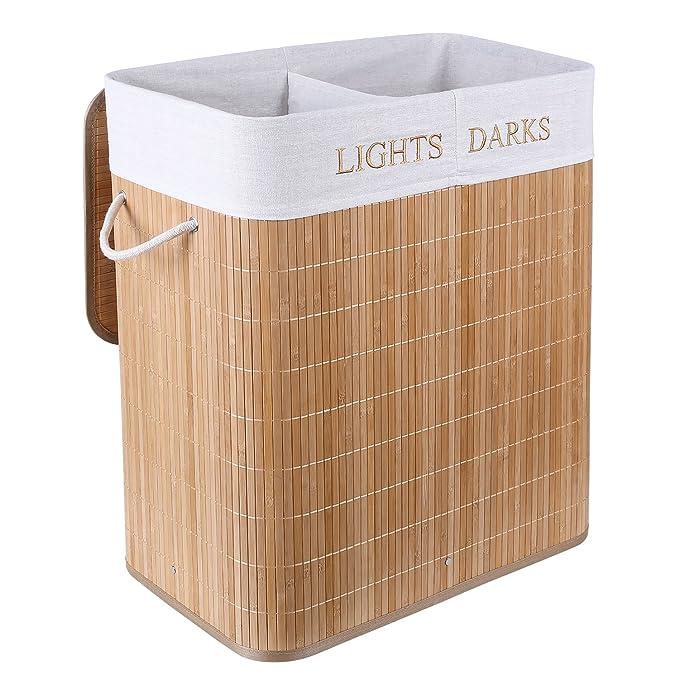 HOMFA Cesto para la Colada de Bambú Cesta para Ropa Pelegable Caja de Almacenaje 100L 54 x 33 x 59.5 cm con 2 Compartimientos (Natural): Amazon.es: Hogar