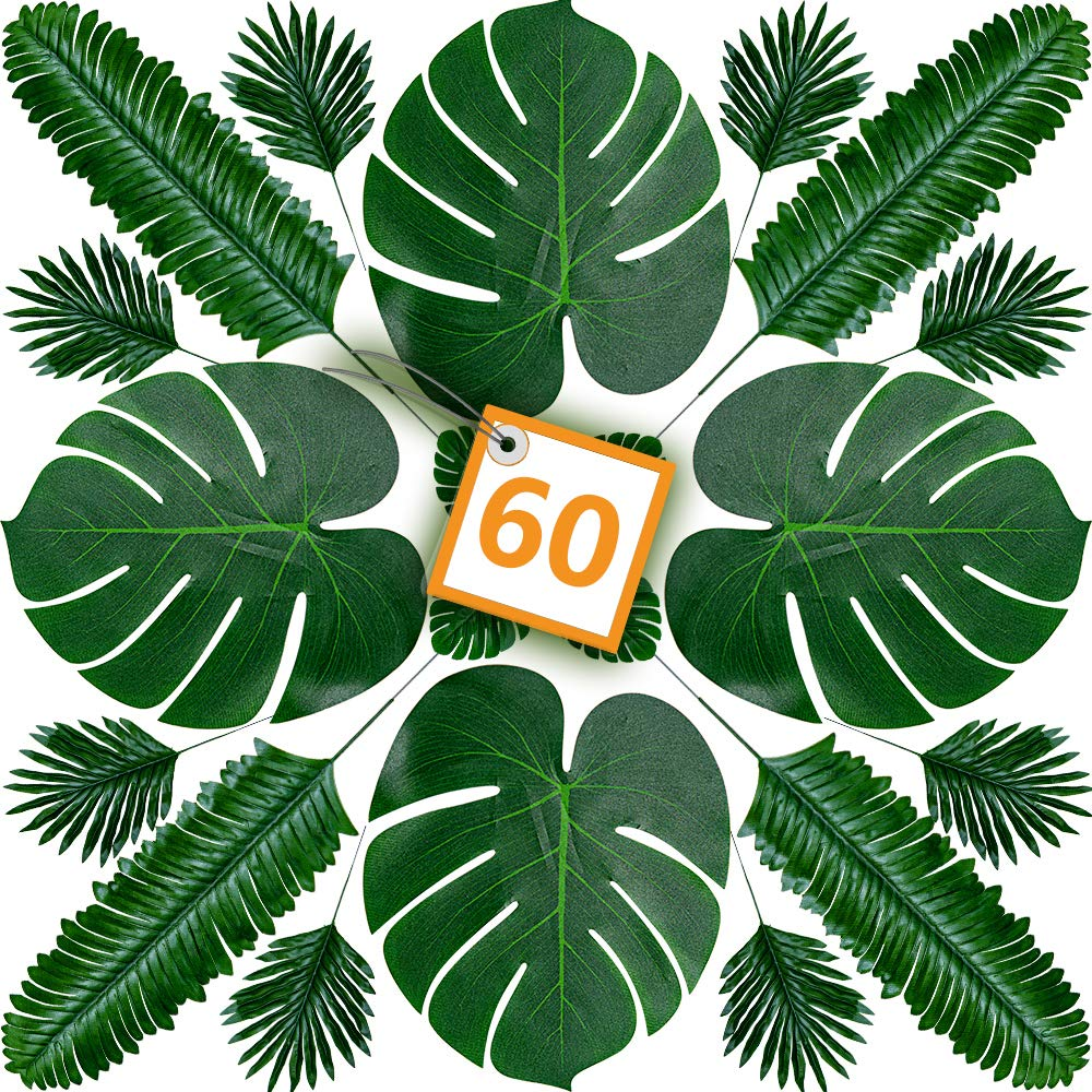 Bowu 60 Pieces 6 Size Artificial Palm Leaves and Faux Monstera - Leaves Stems | Tropical Plant Simulation Safari Leaves for Hawaiian Luau Party, Jungle Beach Theme Party (Artificial Palm-1)