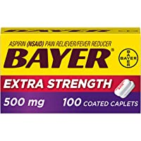 Extra Strength Bayer Aspirin 500mg Coated Tablets, Pain Reliever and Fever Reducer, 100ct