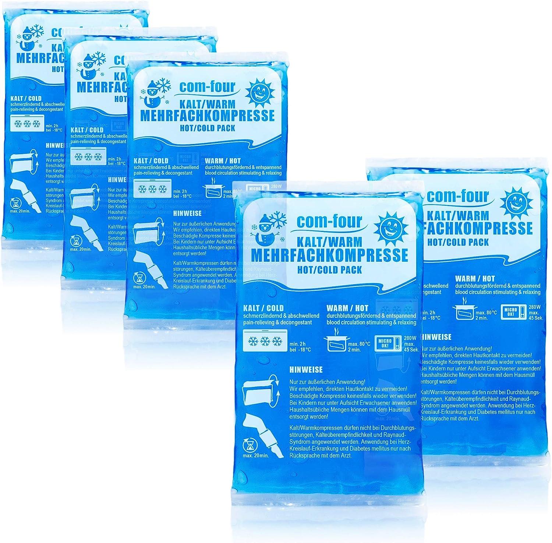 com-four® 5X Compresa Multiuso Pequeña, Compresas Reutilizables Frías y Calientes, 15,5 x 8,5 cm - Adecuado para Microondas (05 Piezas - pequeñas)