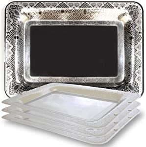 Maro Megastore (Pack of 4 15.7-Inch x 11-Inch Rectangular 304 Stainless Steel Serving Tray Floral Engraved Decorative Wedding Birthday Buffet Party Dessert Food Art Party Platter Plate 2436 M Ts-026