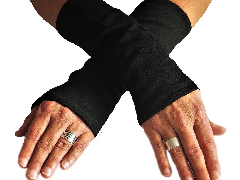 Armstulpen schwarz Jersey gefüttert
