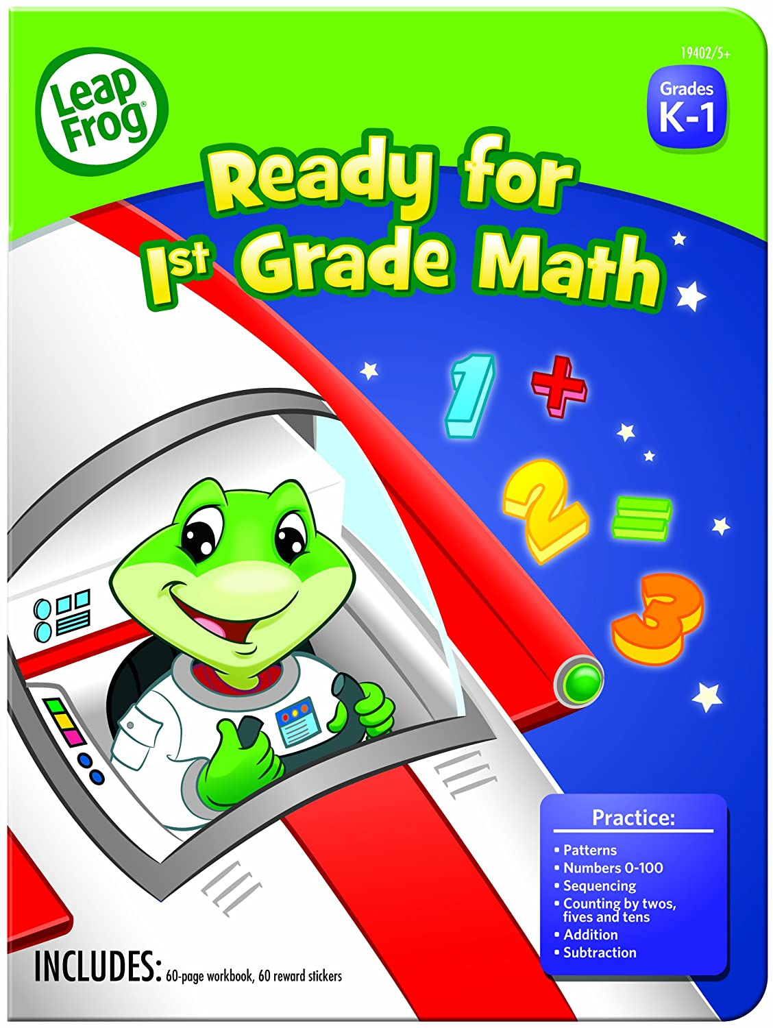 Amazon.com : LeapFrog Ready for 1st Grade Math Workbook with 60 Pages and  60 Reward Stickers (19402) : Office Products