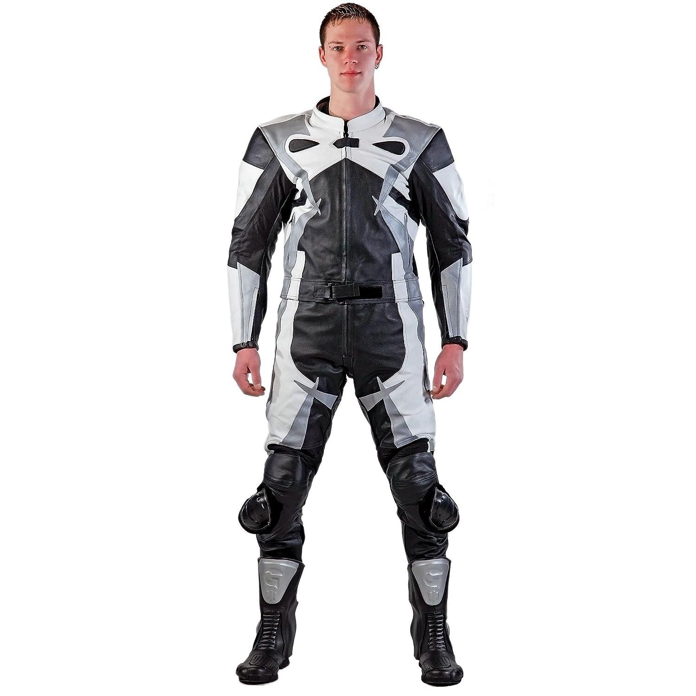 Lemoko - Traje de piel para motorista, 2 piezas, talla S-4XL, color negro, blanco y plateado S-5XL