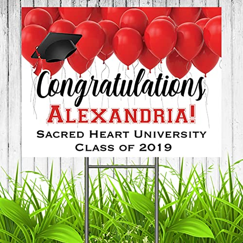 Congratulations Class Of 2019 Graduate Personalized Yard Sign With Metal Stake Red And White Custom Graduation Party Personalized Lawn Sign
