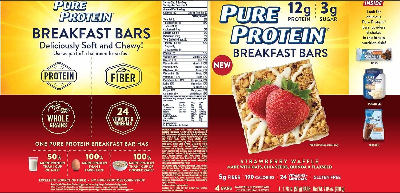 Amazon.com: Pura Proteína Barra de Desayuno, fresa Waffle, 4 ...