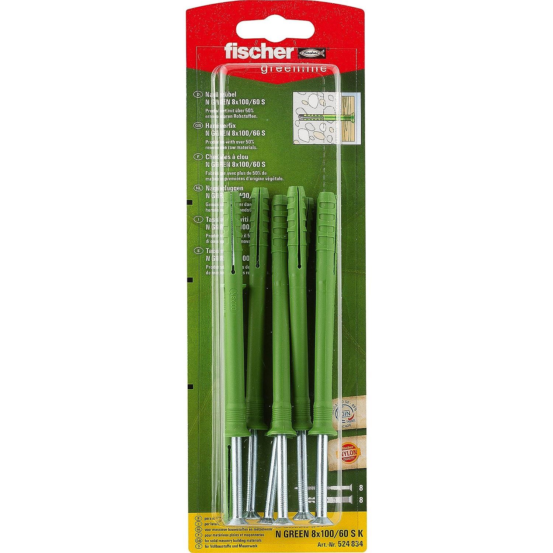 Fischer, Tassello N Green 8 x 100/60 S K, 8 x unghie vite 5 x 105 Z, premontato, 524834 Tassello N Green 8x 100/60S K 8x unghie vite 5x 105Z