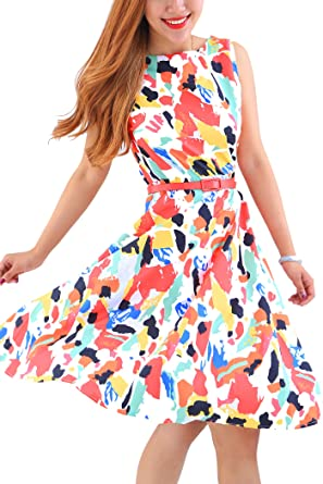 Neues Produkt 614c0 ec610 YMING Damen Partykleid knielang Pin up Vintage Kleid Blumenkleid  Ballkleider Sommerkleid,Bunt,L/DE 40-42