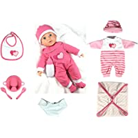 16 Inch Soft Body Baby Doll - Pink 10 Pieces Girl's Gift Toy Set - Making 6 Sounds With IC - Perfect For Children 3+