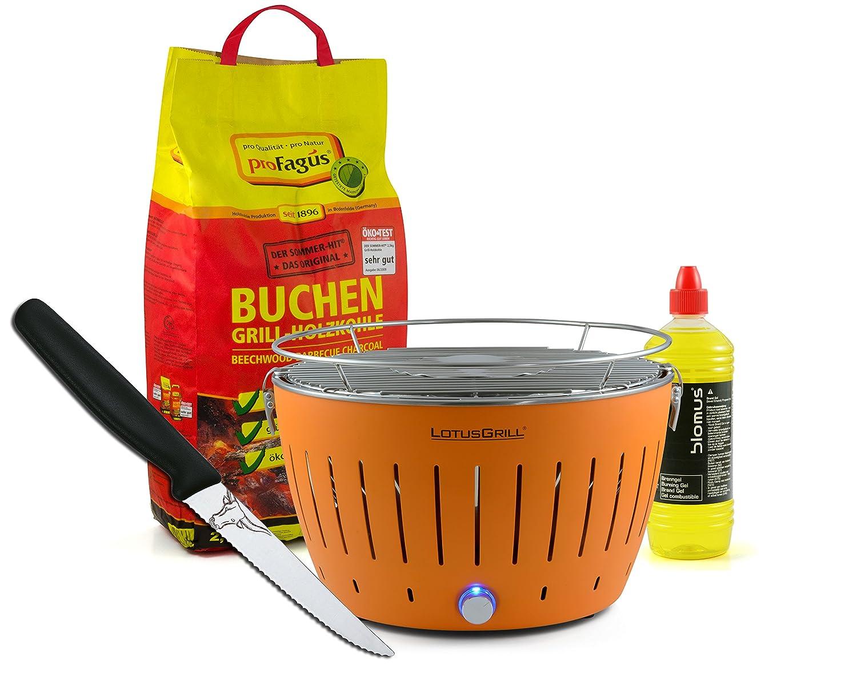 Lotusgrill ORANGE inkl. 2,5kg Holzkohle, Brenngel 1L & Steakmesser