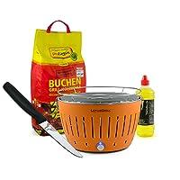 Lotusgrill Lotusgrill Edelstahl Stahl Kunststoff orange kleiner BBQ-Lotus Balkon Camping Picknick ✔ rund ✔ tragbar rauchfrei ✔ Grillen mit Holzkohle ✔ für den Tisch