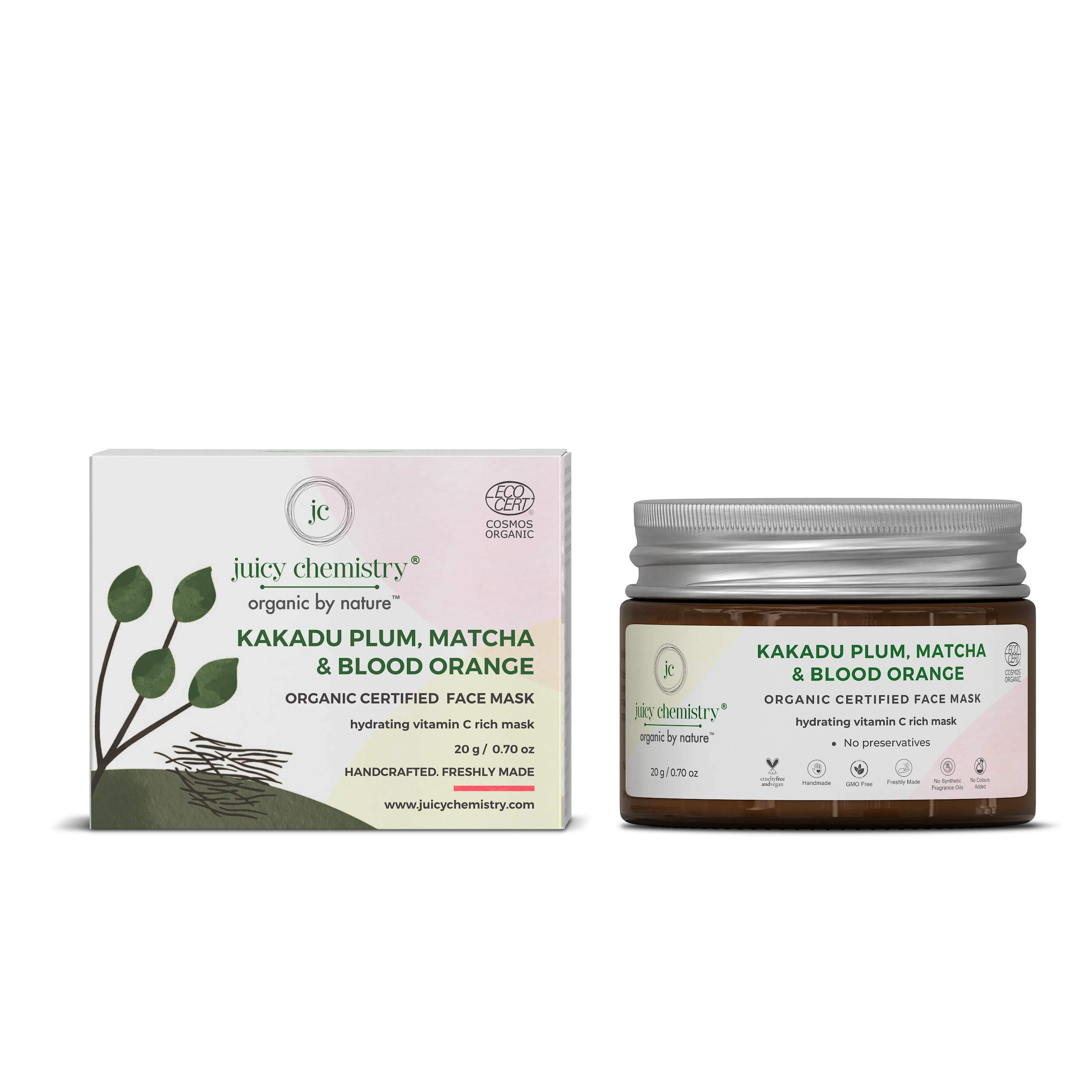 Juicy Chemistry Kakadu Plum, Matcha & Blood Orange Organic Face Mask For Glowing Skin & Acne Removal, 20 Gm