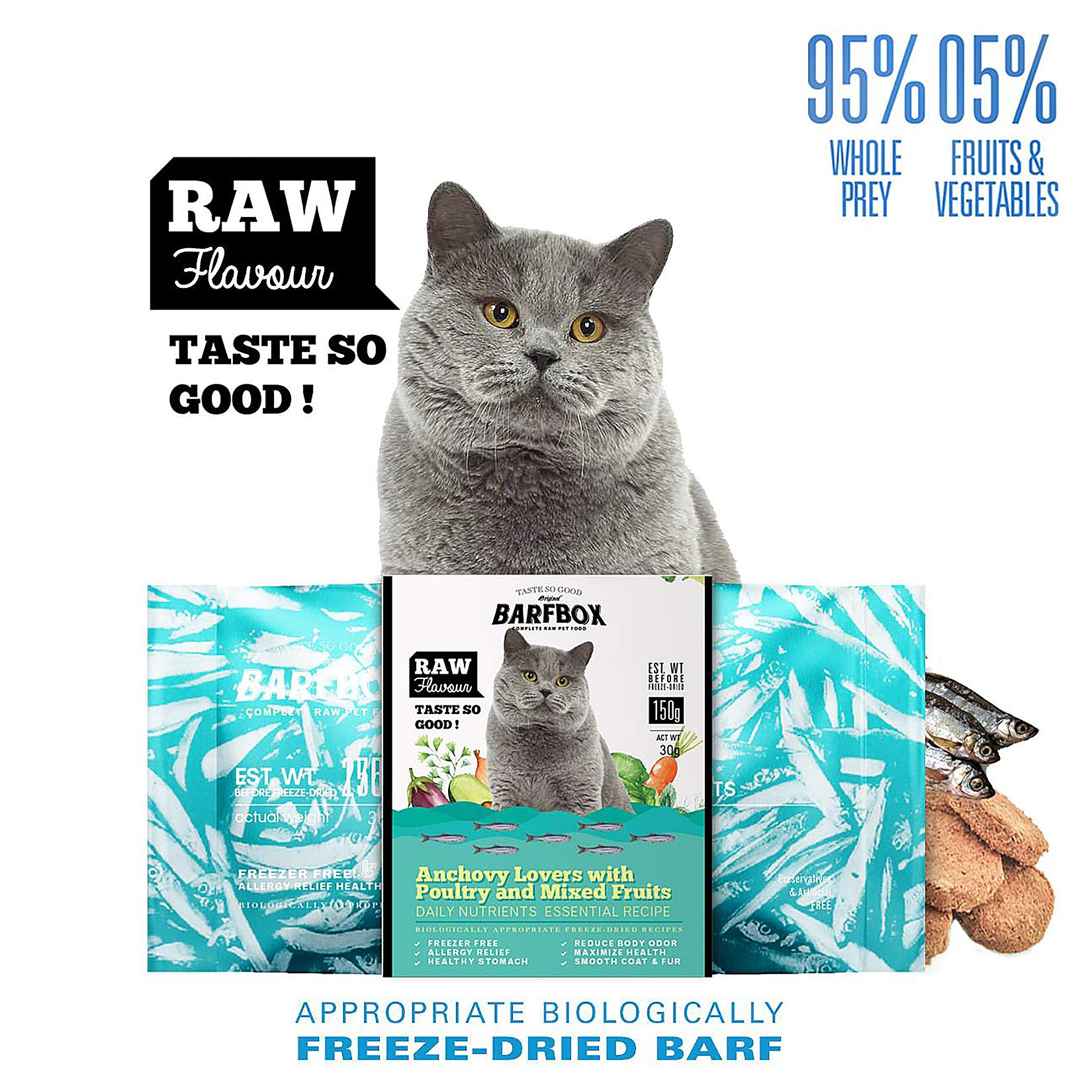 BARFBOX Freeze-Dried Barf Complete Raw Cat Food High Protein, Formula Anchovy Lover & Poultry Mixed Fruits, Daily Nutrients Essential Recipe Healthy for Long & Short Hair Cat, Kitten 30 g. by BARFBOX